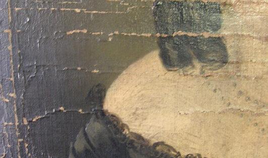 Schadensbild 13a_Frauenporträt, Biedermeier_Zustand vor der Restaurierungg