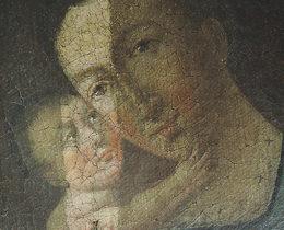 Schadensbild 4d_ Madonna mit Kind 19. Jahrhundert_starke Oberflächenverschmutzung