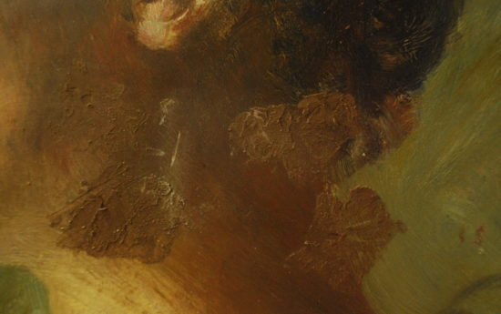 Schadensbild 16a_Frauenporträt, 20. Jahrhundert, Öl auf Holz_Zustand vor der Restaurierung