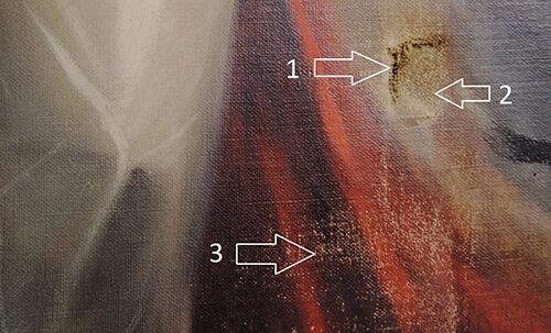 Schadensbild 8a_Frauenbildnis 19. Jahrhundert_Zustand vor der Restaurierung