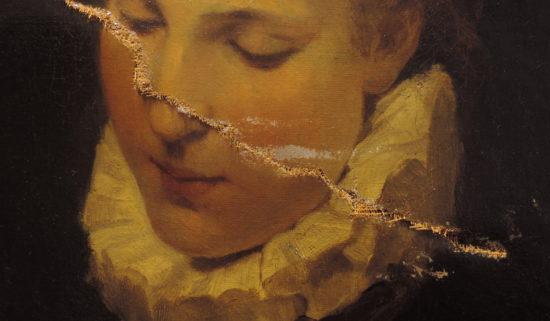 Schadensbild 9a_Mädchenbildnis_Detailfoto_Zustand vor der Restaurierug